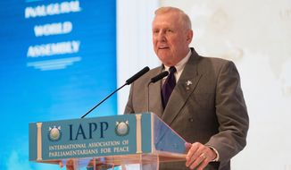 Former Cong. Dan Burton - (R-IN), International Co-chairman of IAPP, described the vision and goals for the new organization of lawmakers in February, 2017. (PHOTO CREDIT: HSA-UWC)