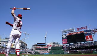 Washington Nationals' Bryce Harper warms up during a baseball game against the Philadelphia Phillies at Nationals Park Thursday, Aug. 23, 2018, in Washington. The Phillies won 2-0. (AP Photo/Andrew Harnik)