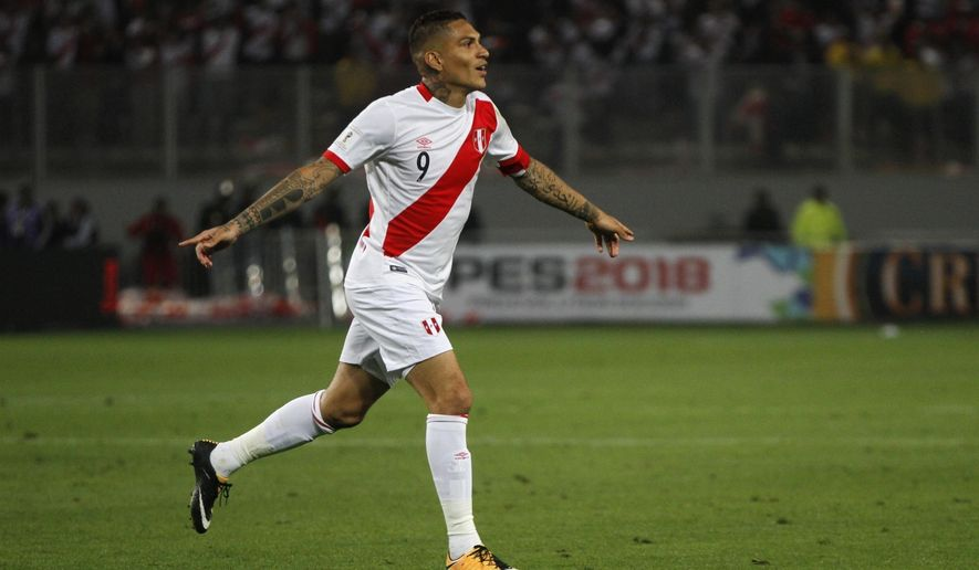 FILE - In this Oct. 10, 2017 file, Peru's Paolo Guerrero celebrates after scoring in a 2018 World Cup qualifying soccer match in Lima, Peru. Guerrero will play for Brazil's Internacional after his contract with Rio de Janeiro-based giants Flamengo expired. Internacional announced the move on Sunday, Aug. 12, 2018. (AP Photo/Rodrigo Abd, File)