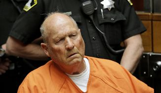 FILE - In this April 27, 2018 file photo Joseph James DeAngelo, 72, the alleged Golden State Killer appears in Sacramento County Superior Court in Sacramento, Calif. DeAngelo was arraigned, Thursday, Aug. 23, 2018, on 13-new rape-related charges along with 13 slayings spanning five counties committed during the 1970's and 1980's. DeAngelo did not enter a plea. (AP Photo/Rich Pedroncelli, File )