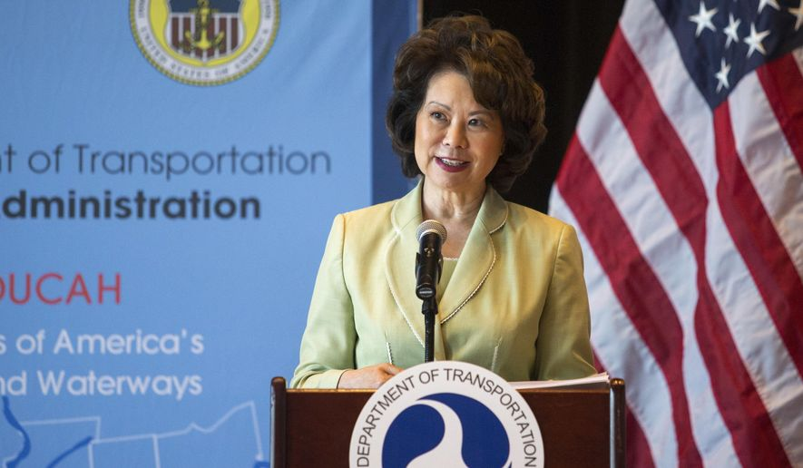 U.S. Secretary of Transportation Elaine Chao announces that The Maritime Administration (MARAD) will establish a new Gateway office in Paducah, Ky., Thursday, Aug. 23, 2018. The Gateway offices will provide assistance to public ports by helping with congestion relief and improving freight and passenger movement. The office will be responsible for all or portions of the following Kentucky-adjacent states: West Virginia, Ohio, Indiana, Illinois and Tennessee. (Ellen O'Nan/The Paducah Sun via AP)