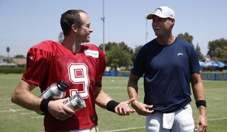 FILE - In this Aug. 22, 2018, file photo, New Orleans Saints quarterback Drew Brees, left, and Los Angeles Chargers quarterback Philip Rivers share a light moment after a joint NFL football practice, in Costa Mesa, Calif. The history between Philip Rivers and Drew Brees has many of the ingredients for a major sports rivalry. Except these two veteran quarterbacks still genuinely like and respect each other 14 years after they were thrown together with the San Diego Chargers. (AP Photo/Jae C. Hong, File)
