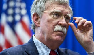 US national security adviser John Bolton, speaks during an interview about the meeting with his Russian counterpart Nikolai Patrushev, at the American embassy in Geneva, Switzerland, Thursday, August 23, 2018. (Martial Trezzini/Keystone via AP)