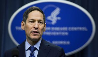 In this April 1, 2016, photo, Centers for Disease Control and Prevention Director Dr. Thomas Frieden speaks during a news conference in Atlanta. The New York Police Department says Frieden, who also is a former New York City health commissioner, was arrested on Friday morning in Brooklyn on a sex abuse charge. (AP Photo/David Goldman) **FILE**