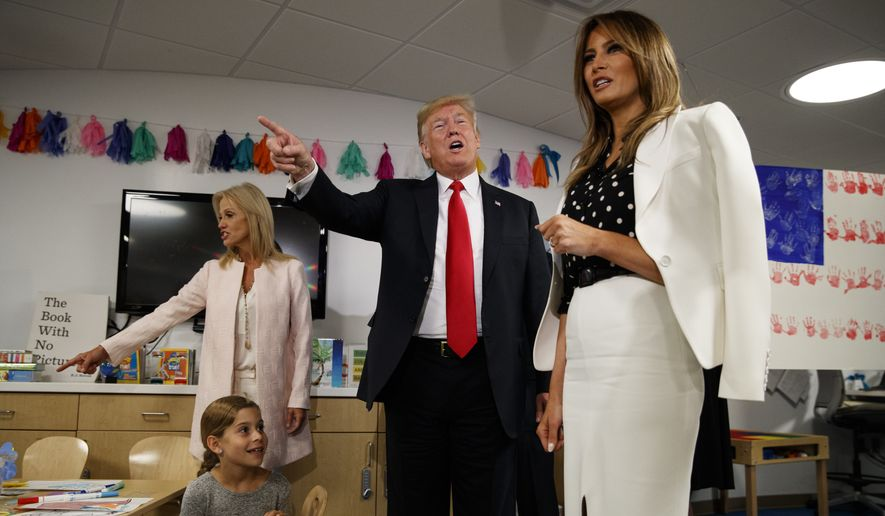 President Donald Trump and first lady Melania Trump visit the Nationwide Children's Hospital, Friday, Aug. 24, 2018, in Columbus, Ohio. (AP Photo/Evan Vucci)