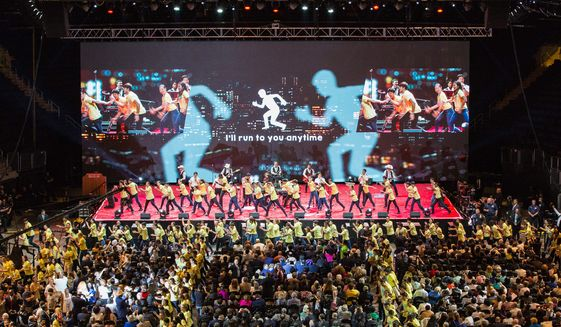 """Hundreds of youth performed before an audience of 20,000 at Madison Square Garden for """"Peace Starts with Me"""" rally. (PHOTO CREDIT: HSA-UWC)"""