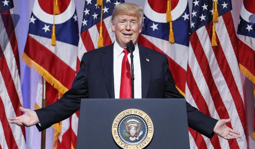 President Donald Trump speaks during the 2018 Ohio Republican Party State Dinner, Friday, Aug. 24, 2018, in Columbus, Ohio. (AP Photo/John Minchillo)