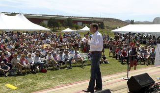 FILE--In this Aug. 15, m2015, file photo, Nevada Attorney General Adam Paul Laxalt gives welcoming remarks at the Inaugural Basque Fry at Corley Ranch in Gardnerville, Nev. White House counselor Kellyanne Conway and a slate of conservative officials and political figures will descend on a northern Nevada ranch Saturday, Aug. 25, 2018, for the 4th annual Basque Fry hosted by Laxalt. (AP Photo/Lance Iversen, file)