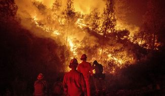 In this Aug. 7, 2018, file photo, firefighters monitor a backfire while battling the Ranch Fire, part of the Mendocino Complex Fire near Ladoga, Calif. (AP Photo/Noah Berger, File)