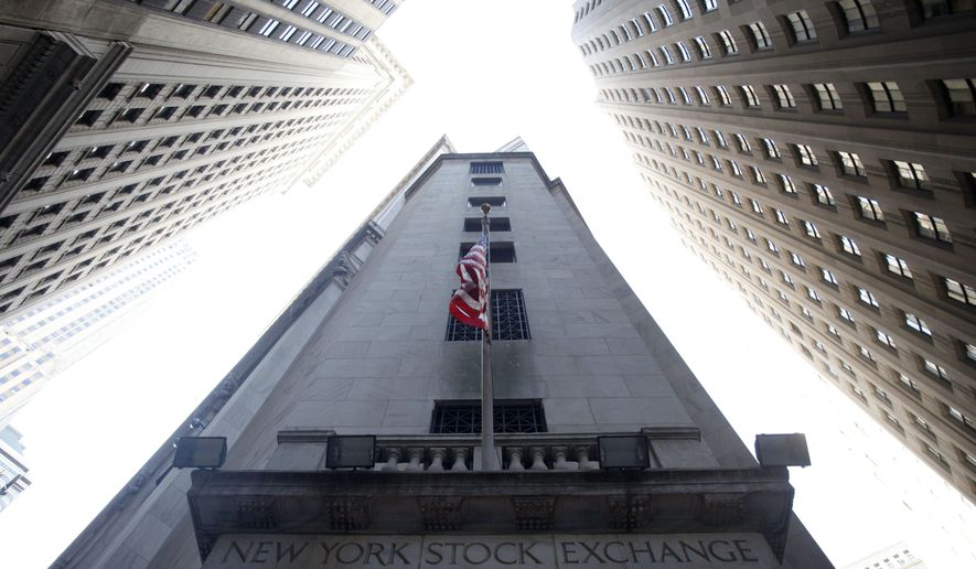 FILE- This Aug. 27, 2010, file photo shows the New York Stock Exchange. The U.S. stock market opens at 9:30 a.m. EDT on Friday, Aug. 24, 2018. (AP Photo/Mark Lennihan)