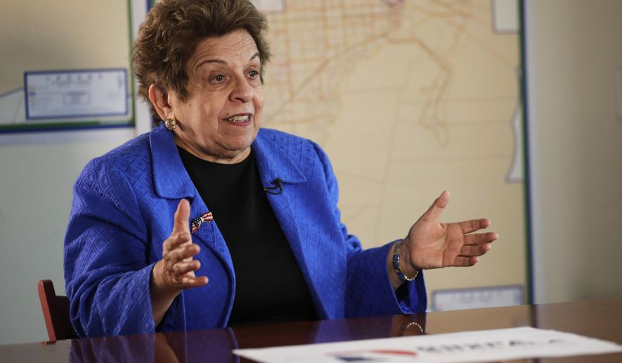 FILE - In this March 7, 2018 file photo, former Health and Human Services secretary Donna Shalala speaks during an interview in Miami.   Shalala is embarking on a new adventure: a Democratic run for the U.S. House. The Miami-area District 27 seat, long occupied by retiring moderate Republican Rep. Ileana Ros-Lehtinen, is viewed as one of the best chances nationwide for a Democratic pickup.  She has been the favorite in Tuesday, Aug. 28, 2018 Democratic primary, with state Rep. David Richardson mounting a challenge. The winner will face one of nine Republicans in November. (AP Photo/Lynne Sladky, File)