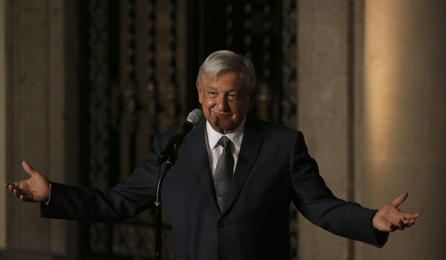 FILE - In this  Aug. 9, 2018 file photo, Mexico's President-elect Andres Manuel Lopez Obrador speaks to reporters after meeting with Mexico's President Enrique Pena Nieto at the National Palace in Mexico City. Lopez Obrador has thanked U.S. President Donald Trump on Friday, Aug. 25, for treating Mexicans with more respect, or at least not saying anything insulting lately. (AP Photo/Marco Ugarte, File)