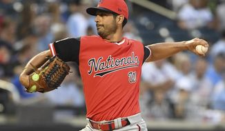 Washington Nationals starting pitcher Gio Gonzalez delivers against the against the New York Mets during the first inning of a baseball game Friday, Aug. 24, 2018, in New York. (AP Photo/Kathleen Malone-Van Dyke)