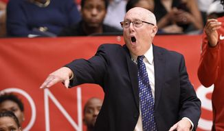 Washington Mystics coach Mike Thibault gestures during the second half of the team's single-elimination WNBA basketball playoff game against the Los Angeles Sparks, Thursday, Aug. 23, 2018, in Washington. The Mystics won 96-64. (AP Photo/Nick Wass) ** FILE **