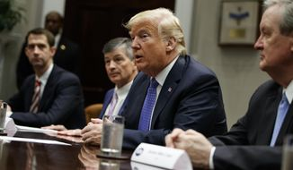 """President Donald Trump speaks during a roundtable on the """"Foreign Investment Risk Review Modernization Act"""" in the Roosevelt Room of the White House, Thursday, Aug. 23, 2018, in Washington. From left, Sen. Tom Cotton, R-Ark., Rep. Jeb Hensarling, R- Texas, Trump, and Sen. Mike Crapo, R- Idaho. (AP Photo/Evan Vucci)"""
