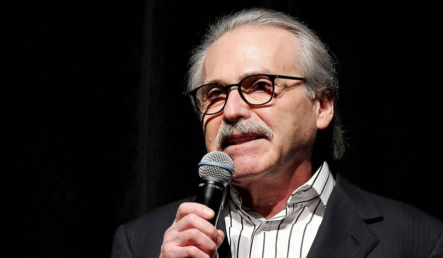 In this Jan. 31, 2014, file photo, David Pecker, chairman and CEO of American Media, addresses those attending the Shape & Men's Fitness Super Bowl Party in New York. (Marion Curtis via AP, File)