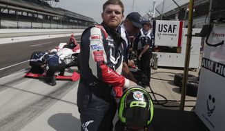 In this May 17, 2018, file photo, Conor Daly prepares to drive during a practice session for the IndyCar Indianapolis 500 auto race at Indianapolis Motor Speedway in Indianapolis. Daly is taking part in the NASCAR Xfinity Series race this weekend at Road America in Elkhart Lake, Wis. (AP Photo/Michael Conroy, File)