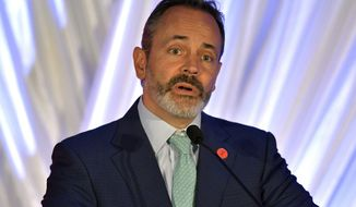 Kentucky Gov. Matt Bevin speaks to the audience during the republican party's Lincoln Dinner, Saturday, Aug. 25, 2018, in Lexington, Ky. Bevin announced during the dinner that he will seek re-election for Governor in 2019. (AP Photo/Timothy D. Easley)