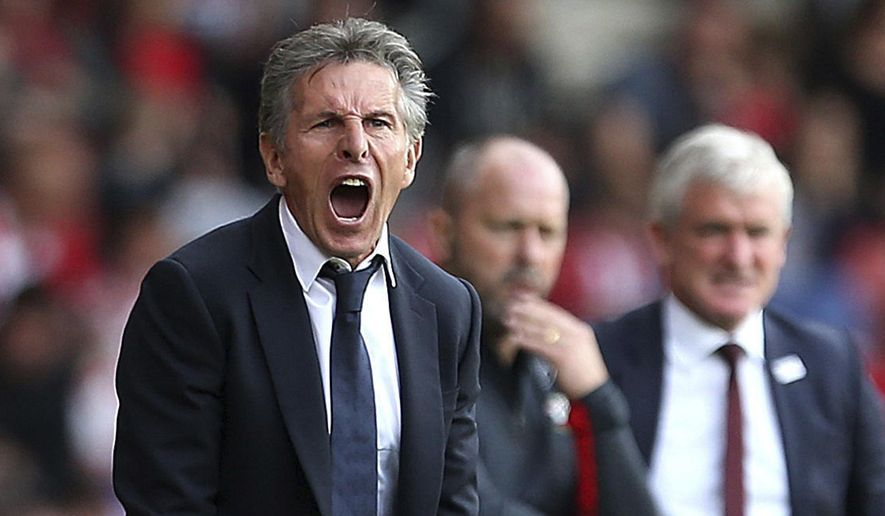 Leicester City manager Claude Puel gestures on the touchline during the English Premier League soccer match between Southampton and Leicester, at St Mary's Stadium, in Southampton, England, Saturday, Aug. 25, 2018. (Steven Paston/PA via AP)