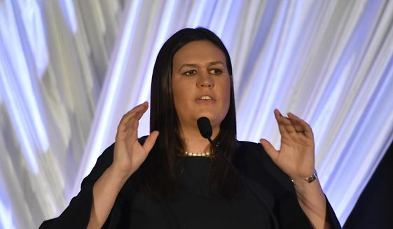 White House Press Secretary Sarah Huckabee Sanders addresses the audience during the Republican Party's Annual Lincoln Dinner, Saturday, Aug. 25, 2018, in Lexington, Ky. (AP Photo/Timothy D. Easley) ** FILE **
