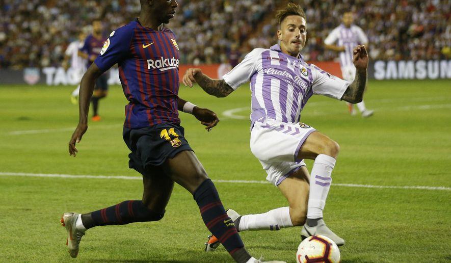 89f10e4e55cf ... Fernando Calero during the Spanish La Liga soccer match between FC  Barcelona and Valladolid at the Nuevo Jose Zorrilla stadium in Valladolid