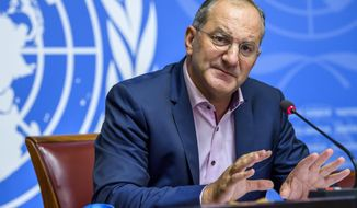 Peter Salama, WHO Deputy Director-General for Emergency Preparedness and Response, speaks about update on WHO Ebola operations in the Democratic Republic of the Congo (DRC) and the one year mark of Rohingya crisis, at the European headquarters of the United Nations, in Geneva, Switzerland, Friday, Aug. 24, 2018. (Martial Trezzini/Keystone via AP)