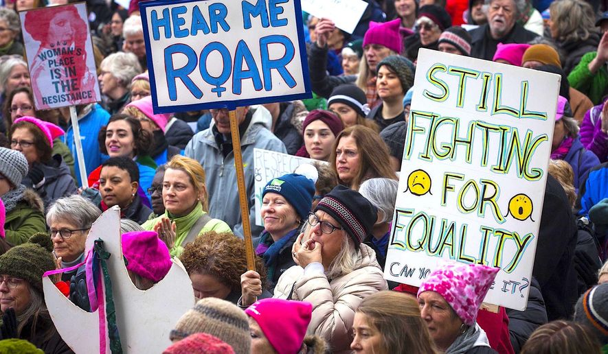 Women's issues and the #MeToo cause are the most likely to spark a rally says a new Gallup poll, which also found that liberals and Democrats were the groups who were most prone to protest. (Associated Press)
