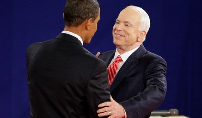 As a presidential candidate in 2008, Sen. John McCain greeted his Democratic rival, Sen. Barack Obama, at a town-hall-style presidential debate in Nashville, Tennessee.