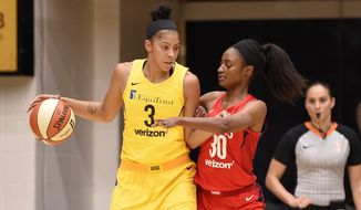Los Angeles Sparks forward Candace Parker (3) dribbles against Washington Mystics forward LaToya Sanders (30) in the first half of a single elimination WNBA basketball playoff game, Thursday, Aug. 23, 2018, in Washington. (AP Photo/Nick Wass) ** FILE **