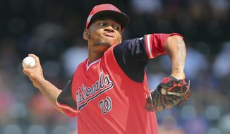 Washington Nationals pitcher Jefry Rodriguez delivers against the New York Mets during the first inning of a baseball game Sunday, Aug. 26, 2018, in New York. (AP Photo/Rich Schultz)