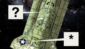 Illustration on advice for the proposed Space Corps by Alexander Hunter/The Washington Times