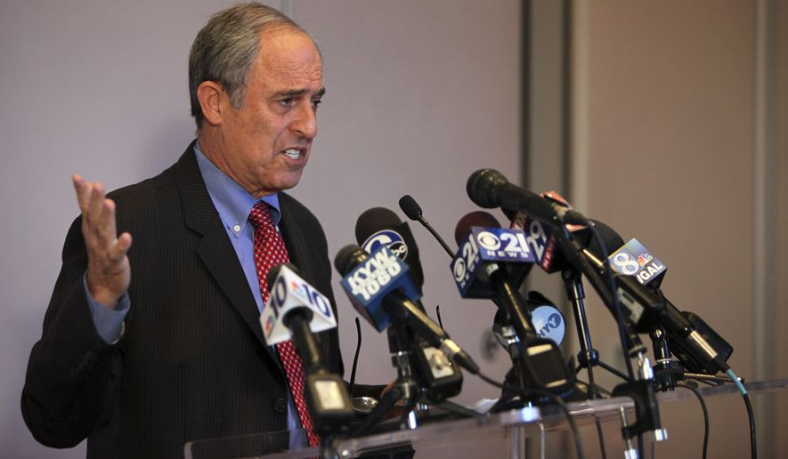 Lanny Davis, attorney for Pennsylvania Attorney General Kathleen Kane talks to members of the media during a news conference on Saturday Jan. 10, 2015, in Philadelphia. Davis discussed an investigation that could end with Kane facing criminal charges over a grand jury leak. Davis vows that Kane will be vindicated, whether or not she is charged. (AP Photo/ Joseph Kaczmarek)