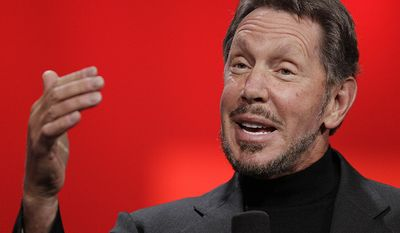 9. Larry Ellison, 74,Oracle (software), $58.5 B   Oracle CEO Larry Ellison gestures while giving a keynote address at Oracle OpenWorld in San Francisco, Tuesday, Oct. 2, 2012. Ellison says he plans to turn the Hawaiian island that he recently bought into a laboratory for experimenting with more environmentally sound ways of living. Ellison says he hopes to convert sea water into fresh water on the 141-mile-square (365-square-kilometer) mile island of Lanai. He also wants more electric cars on the island and hopes to increase its fruit exports to Japan and other markets. (AP Photo/Eric Risberg)