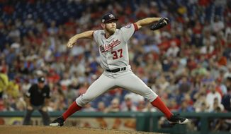 Washington Nationals' Stephen Strasburg in action during a baseball game against the Philadelphia Phillies, Monday, Aug. 27, 2018, in Philadelphia. (AP Photo/Matt Slocum)