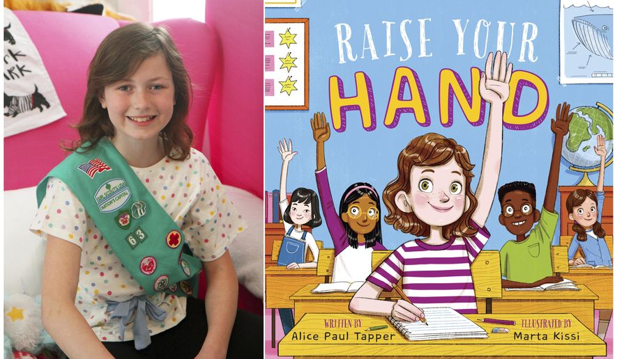 "This combination of photos released by Penguin Young Readers shows Alice Paul Tapper, who authored the children's book, ""Raise Your Hand."" The book, illustrated by Marta Kissi, will be released next March. (Penguin Young Readers via AP)"