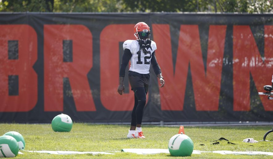 Cleveland Browns wide receiver Josh Gordon stands on the sideline during an NFL football team practice Monday, Aug. 27, 2018, in Berea, Ohio. (AP Photo/Ron Schwane)