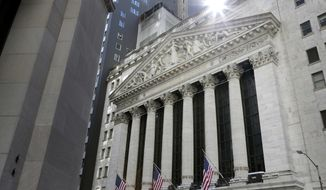 FILE- This June 25, 2018, photo shows the New York Stock Exchange is seen in New York. The U.S. stock market opens at 9:30 a.m. EDT on Monday, Aug. 27. (AP Photo/Seth Wenig, File)