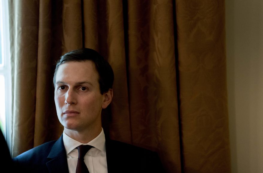 In this Thursday, Aug. 16, 2018, photo, President Donald Trump's White House senior adviser Jared Kushner attends a cabinet meeting in the Cabinet Room of the White House, in Washington. (AP Photo/Andrew Harnik) **FILE**