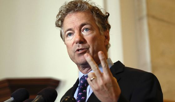Sen. Rand Paul, R-Ky., speaks during a news conference on Capitol Hill in Washington, Sept. 25, 2017. (AP Photo/Pablo Martinez Monsivais) ** FILE **