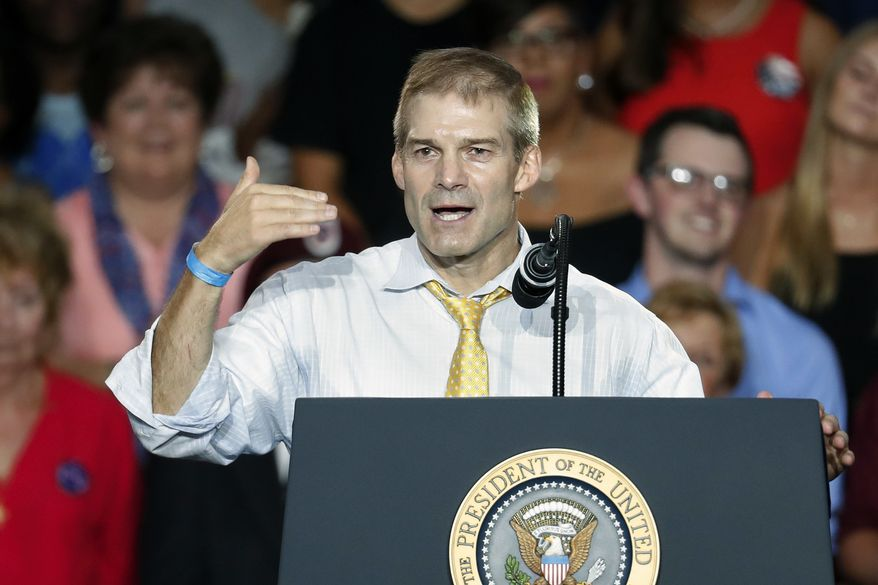 Rep. Jim Jordan, R-Ohio, speaks during a rally with President Donald Trump, Saturday, Aug. 4, 2018, in Lewis Center, Ohio. (AP Photo/John Minchillo)