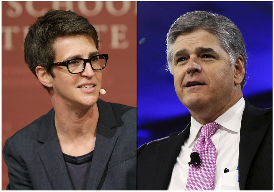 "This combination photo shows MSNBC television anchor Rachel Maddow, host of ""The Rachel Maddow Show,"" moderating a panel at Harvard University, in Cambridge, Mass. on Oct. 16, 2017 , left, and Sean Hannity of Fox News at the Conservative Political Action Conference (CPAC) in National Harbor, Md. on March 4, 2016. A generation ago, the likes of Walter Cronkite, Peter Jennings and Diane Sawyer were the heroes of television news. Now the biggest stars are arguably Sean Hannity and Rachel Maddow. Old lines between journalism and commentary are growing fuzzier with traditional media guideposts stripped away by technology and new business models. (AP Photo)"