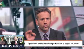 "ESPN's Max Kellerman told his ""First Take"" audience that he was ""angry"" that golfer Tiger Woods wanted to ""show respect"" when dealing with U.S. president's of any political stripe. (Image: YouTube, ESPN, screenshot) ** FILE **"