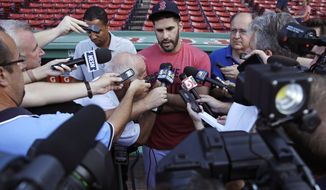 Boston Red Sox's J.D. Martinez is surrounded by reporters while discussing social media postings he made prior to joining the team prior to a baseball game at Fenway Park in Boston, Tuesday, Aug. 28, 2018. (AP Photo/Charles Krupa)