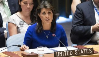 American Ambassador to the United Nations Nikki Haley speaks during a Security Council meeting on the situation in the Myanmar, Tuesday, Aug. 28, 2018 at United Nations headquarters. (AP Photo/Mary Altaffer)