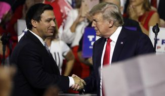 FILE - In this July 31, 2018, file photo, President Donald Trump, right, shakes hands with Florida Republican gubernatorial candidate Ron DeSantis during a rally in Tampa, Fla. Florida voters are going to the polls, Tuesday, Aug. 28, 2018, to select nominees to replace Republican Gov. Rick Scott in an election that's caught the attention of Trump. (AP Photo/Chris O'Meara, File)