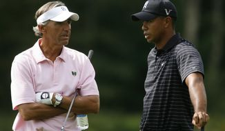 FILE - In this Sept. 3, 2009, file photo, Tiger Woods, right, talks with Seth Waugh, CEO Deutsche Bank Americas, during the pro-am round of the Deutsche Bank Championship in Norton, Mass. Waugh is taking over as CEO of the PGA of America. (AP Photo/Stew Milne)
