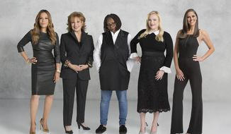 "This image released by ABC shows co-hosts of the daytime talk show ""The View,"" from left, Sunny Hostin, Joy Behar, Whoopi Goldberg, Meghan McCain and Abby Huntsman. The talk show returns for its 22nd season on Sept. 4.  (Lorenzo Bevilaqua/ABC via AP)"