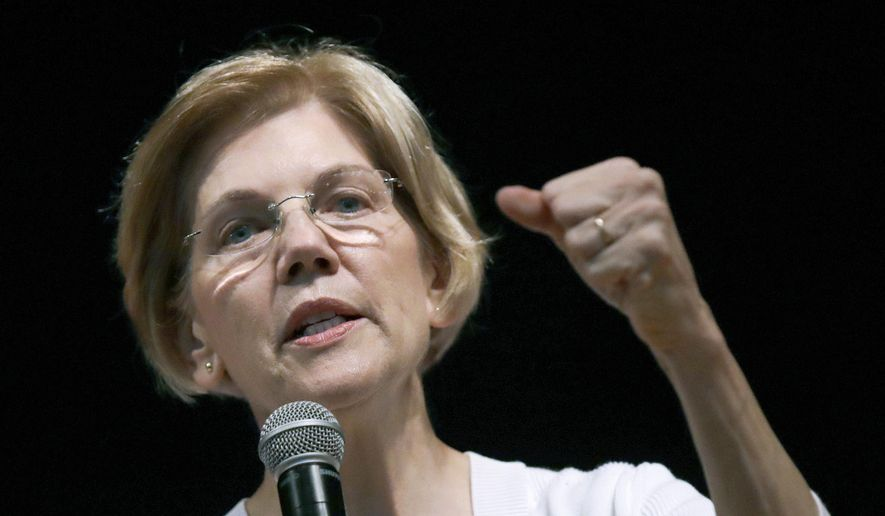 In this Wednesday, Aug. 8, 2018, file photo, U.S. Sen. Elizabeth Warren, D-Mass., speaks during a town hall style gathering in Woburn, Mass. Warren keeps popping up on short lists of possible 2020 Democratic presidential contenders, but will first face a Republican challenger as she seeks re-election in November. (AP Photo/Charles Krupa, File)