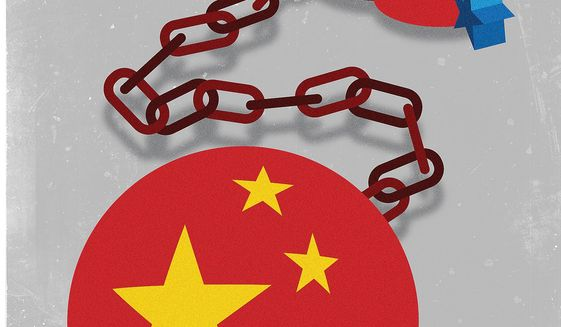 Illustration on wrong relations with China by Linas Garsys/The Washington Times