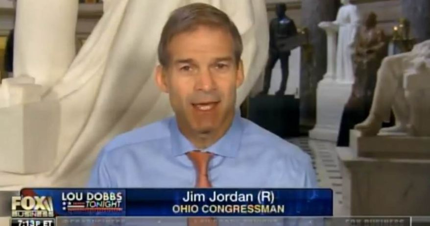 Rep. Jim Jordan (R-OH) appears on Fox Business, Tuesday, August 28, 2018.